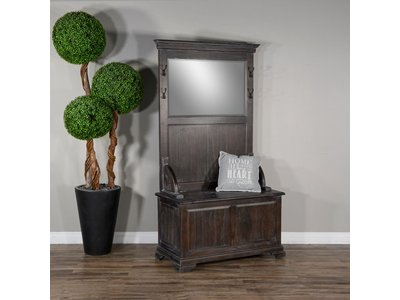 Sunny Designs Hall Tree W/Bench Storage-Top (Brown)