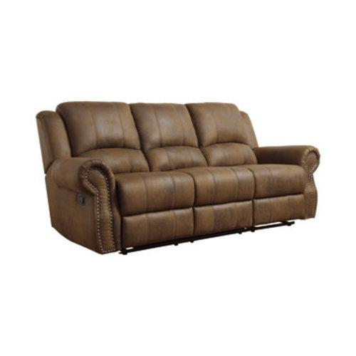 Coaster Sir Rawlinson Rolled Arm Motion Sofa with Nailhead Trim Buckskin Brown