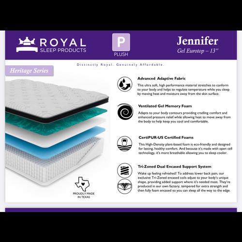 "Royal Sleep Jennifer Gel Eurotop - 13"""