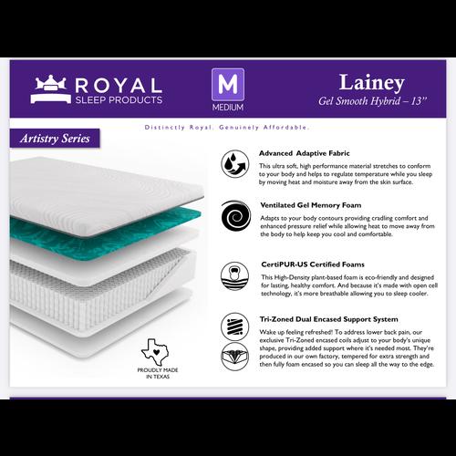"Royal Sleep Lainey Gel MF Smooth Hybrid - 13"" Medium"