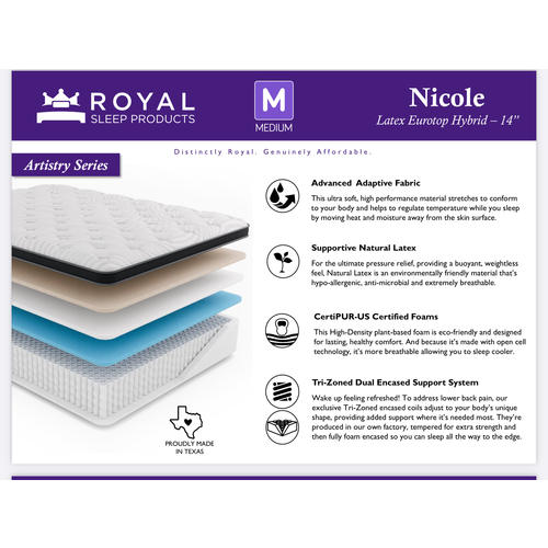 "Royal Sleep Nicole Latex Quilted Hybrid 14"""