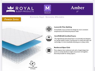 "Royal Sleep Amber 8"" Medium"