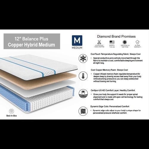 "Diamond Mattress Balance Plus Copper Cool Hybrid 12"" Medium"