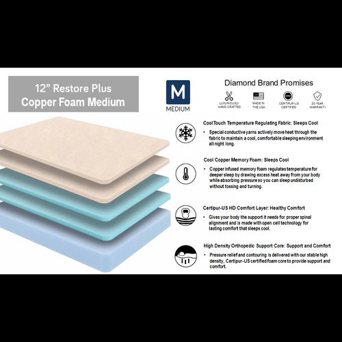 "Diamond Mattress Restore Plus Copper Foam 12"" Medium"