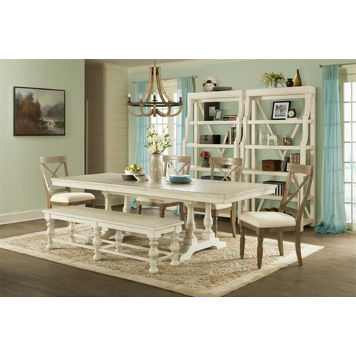 Riverside Furniture Aberdeen Table and Bench 6PC Set
