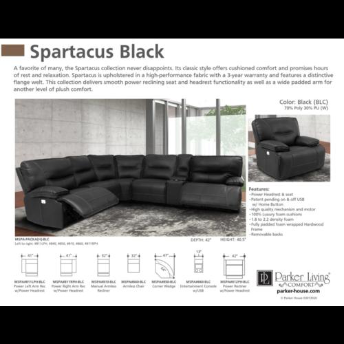 Parker House Spartacus Black 6PC Dual Power Sectional