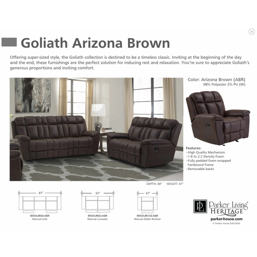 Parker House Goliath Arizona Manual Reclining