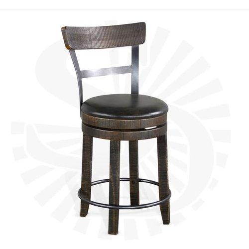 "Sunny Designs 24""H Barstool Whiskey w/ Back & Swivel, Cushion Seat"