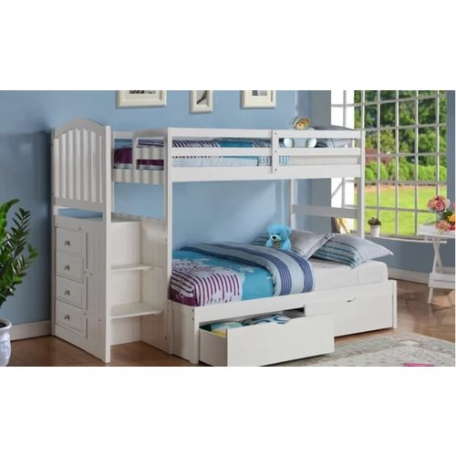 Donco Kids T/Full Arch Mission Stairway Bunkbed