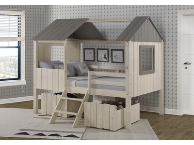 Donco Kids Rustic Sand Full Low Loft Bed