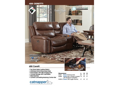 PFC Ceretti Leather Power Motion Loveseat