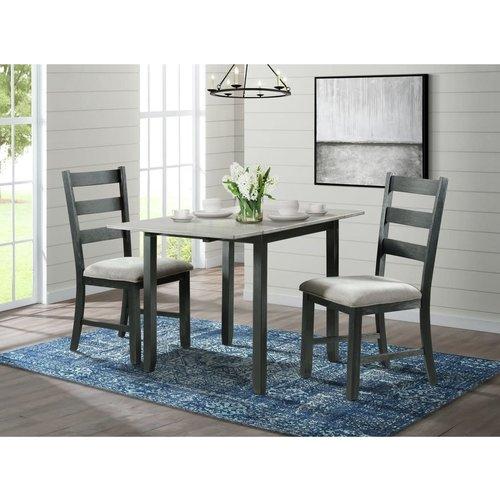 Elements Martin 3PC Drop Leaf Dining Set (Grey Top)
