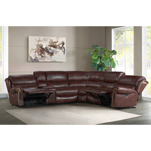 Intercon Hyde Park 6pc Reclining Sectional (Banner Mahogany)