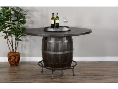 Sunny Designs Round Pub Table w/ Whiskey Barrel Base