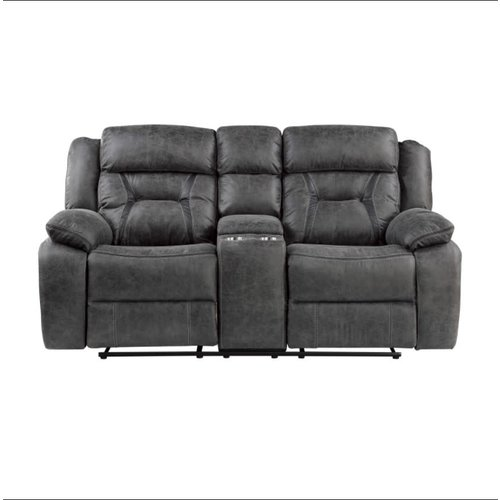 Homelegance Moriarty Double Reclining Love Seat W Console (Dark Gray)