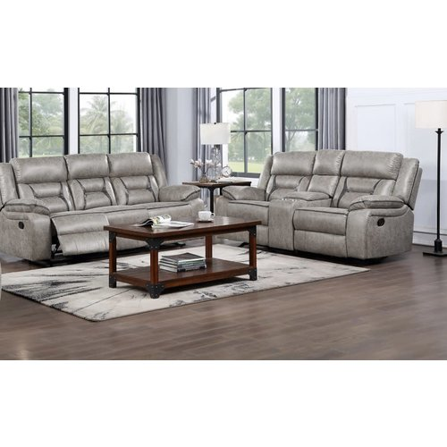 Homelegance Moriarty Dual Reclining Loveseat W/Console (Beige)