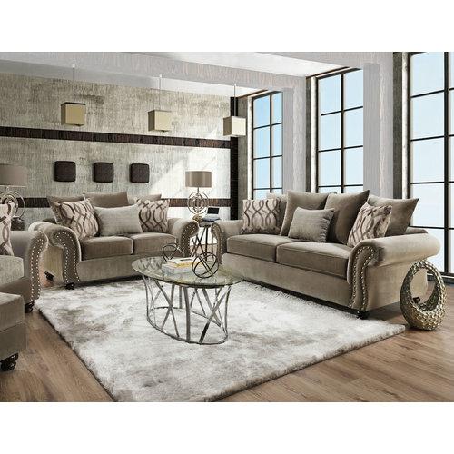 Corinthian Richmond Taupe Sofa and Loveseat