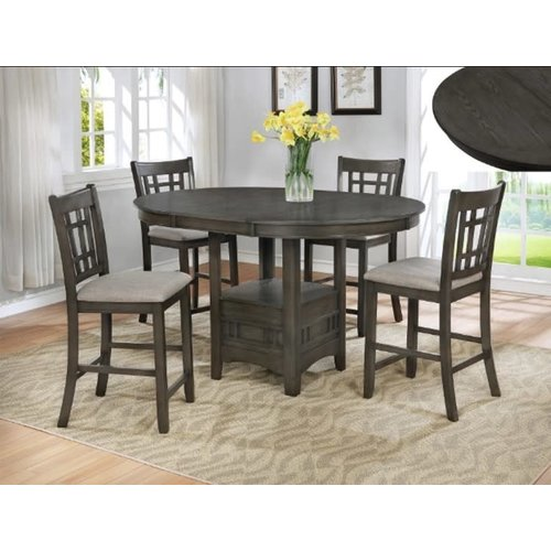 Crown Mark Hartwell 5PC  Chalk/Brown Dining Set