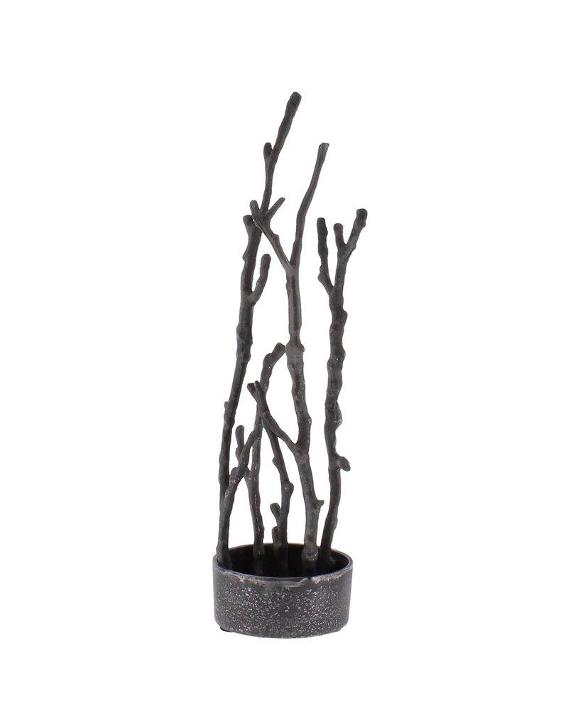 Sculptural Branch Vase, Nickel, Round