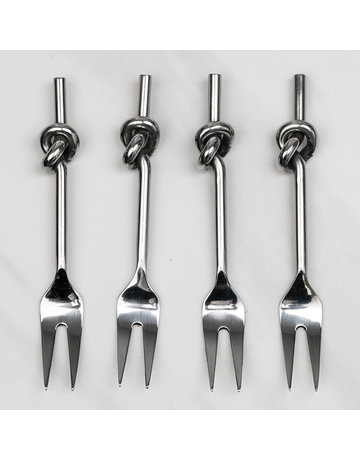Stainless Steel Knotted Cocktail Forks, Set of 4