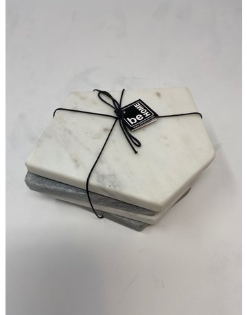 White & Gray Marble Geometric Coasters, Set of 4