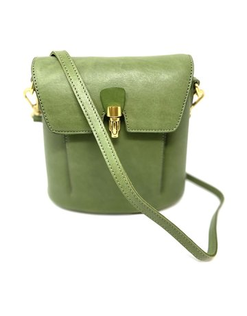 Crossbody Leather Bag, Tea Green