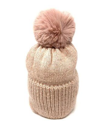Metallic Knit Pompom Beanie Hat, Blush