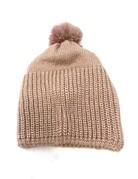 Metallic Knit Pompom Beanie Hat, Blush