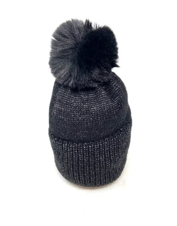 Metallic Knit Pompom Beanie Hat, Black