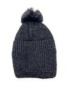 Metallic Knit Pompom Beanie Hat, Black