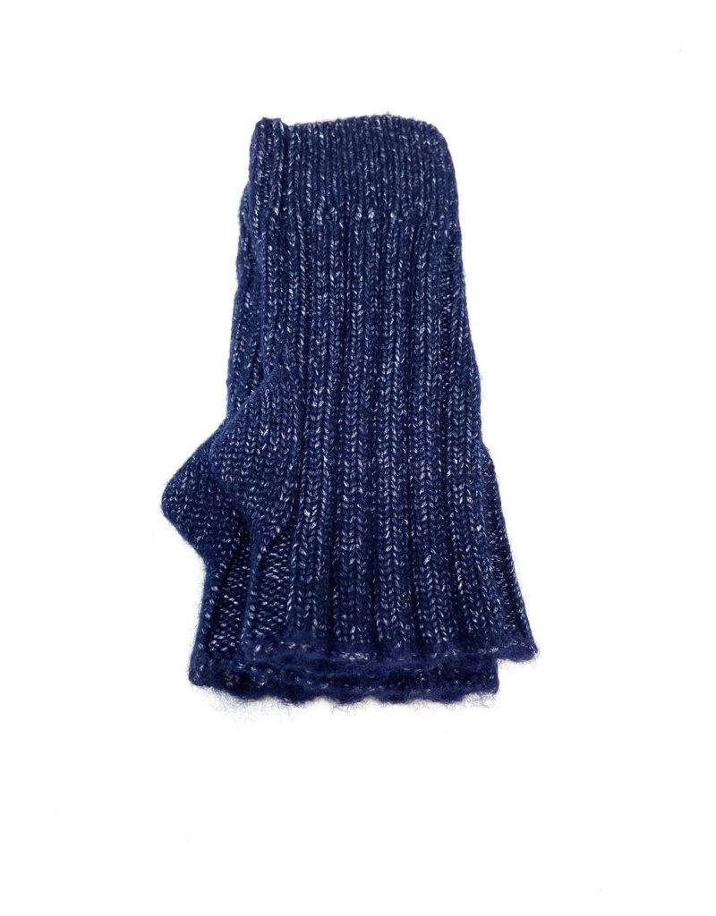 Cashmere Blend Sparkle Heather Fingerless Gloves, Navy