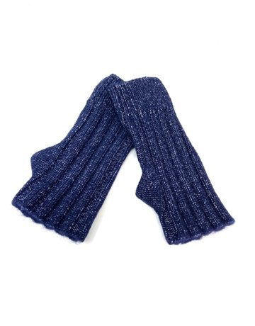 Cashmere Blend Sparkle Heather Fingerless Gloves, Navy