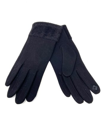 Faux Mink-Edged Gloves, Black