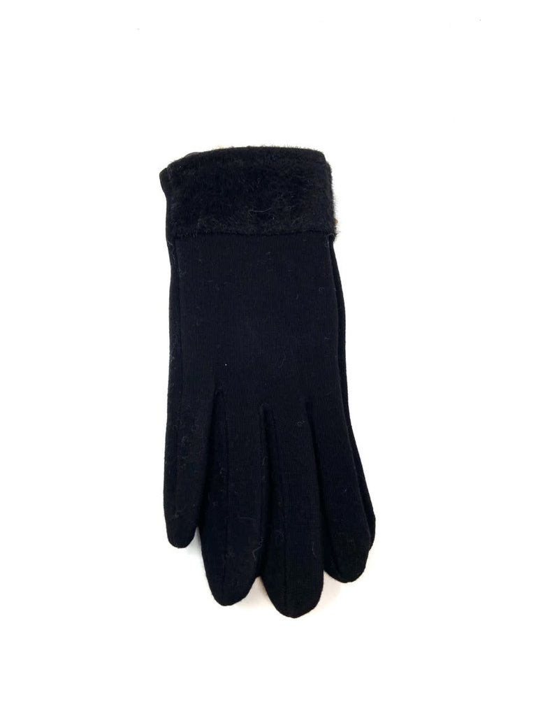 Faux Mink-Edged Gloves, Black