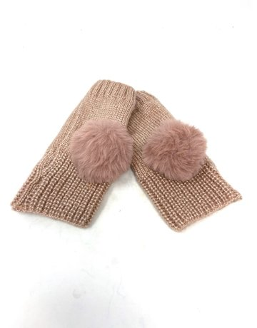 Metalic Fingerless Pompom Gloves, Blush