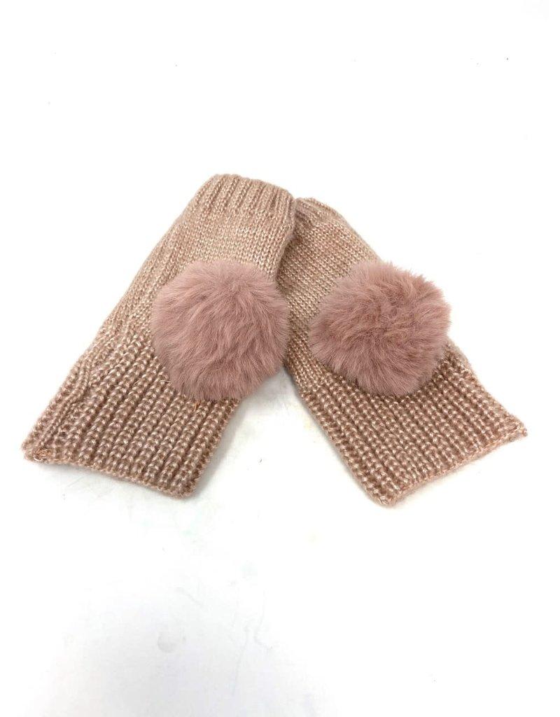 Metallic Fingerless Pompom Gloves, Blush