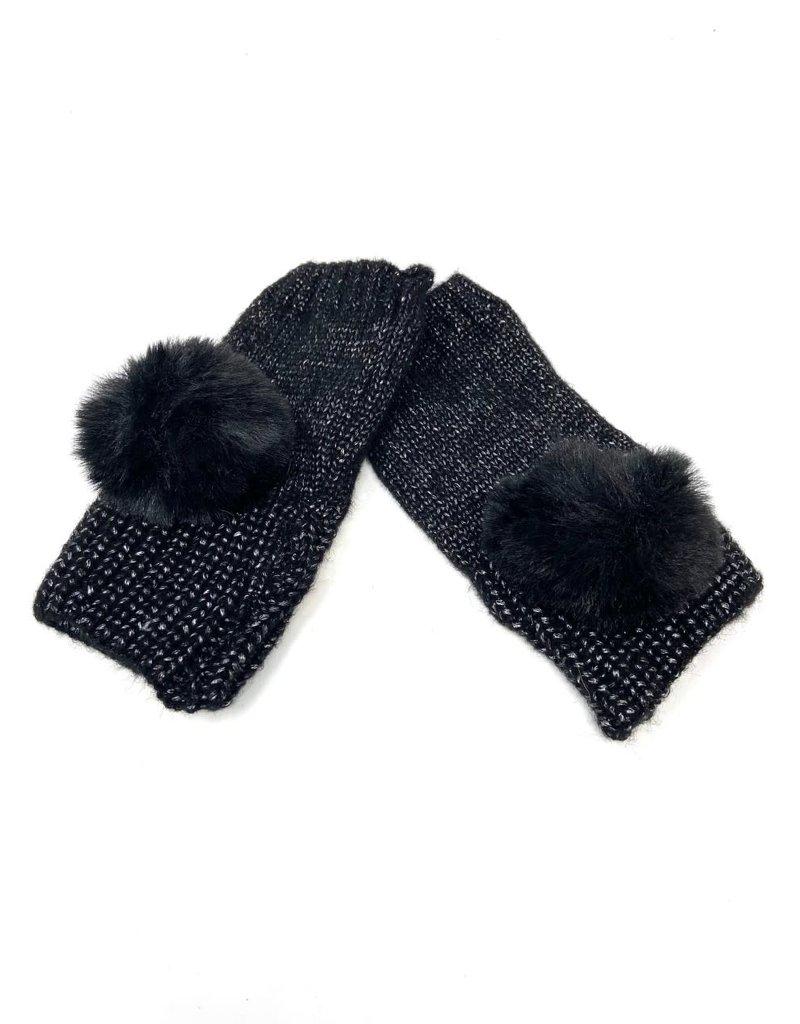 Metallic Fingerless Pompom Gloves, Black