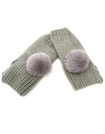 Metallic Fingerless Pompom Gloves, Grey