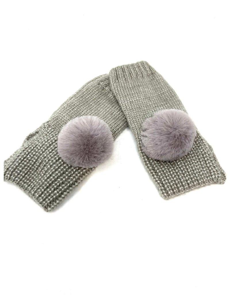 Metallic Fingerless Pompom Gloves, Grey