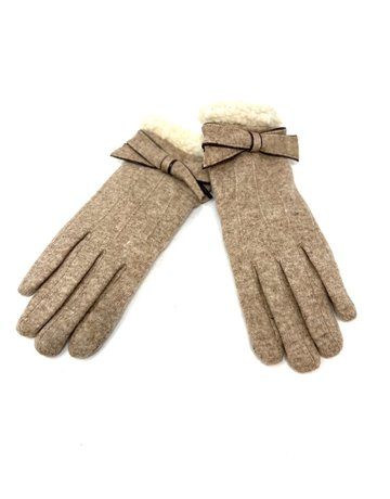 Cashmere and Faux Shearling Gloves, Taupe