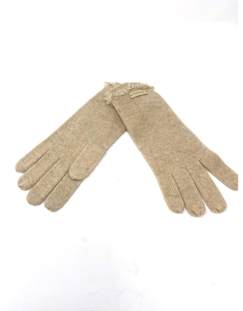 Cashmere Fringe Gloves, Beige