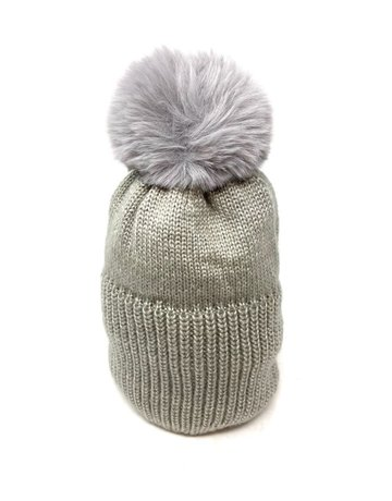 Metallic Knit Pompom Beanie Hat, Grey