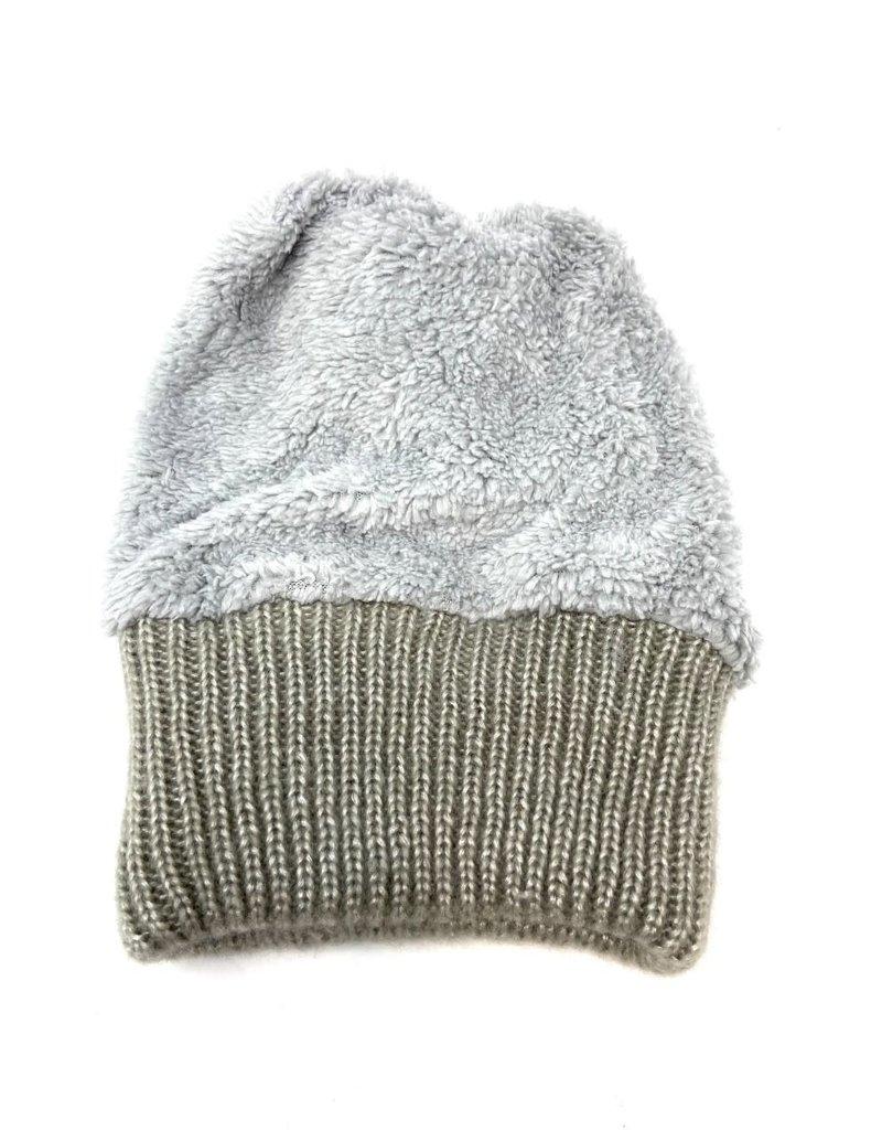 Metallic Knit Pompom Beanie Hat, Grey