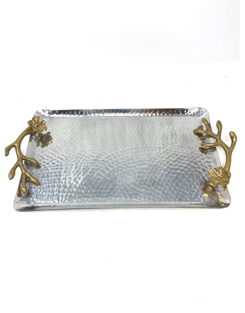 Hammered Aluminum Tray with Flowering Branch Handles