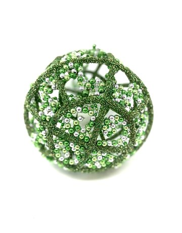 "9"" Bead Ball Green and Silver Ornament"