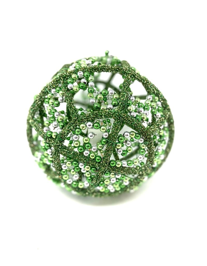 """9"""" Bead Ball Green and Silver Ornament"""
