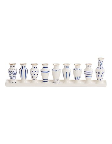 Accent Decor Petite White and Blue Ceramic Menorah