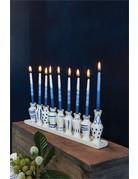 Accent Decor Petite White and Blue Ceramic Menorah