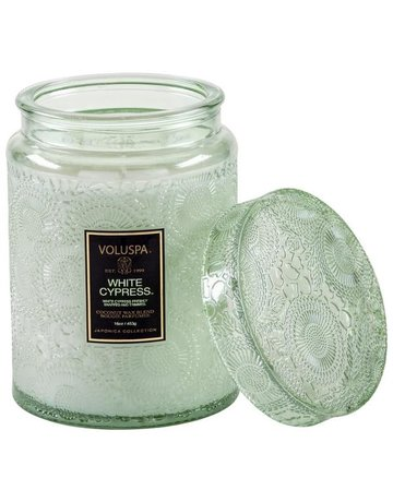 Voluspa White Cypress Large Jar Candle