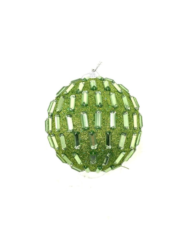"4"" Green Rhinestone Ball Ornament"